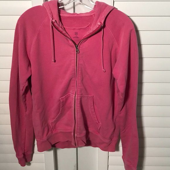Gap bright pink terry zipper hoodie, size large